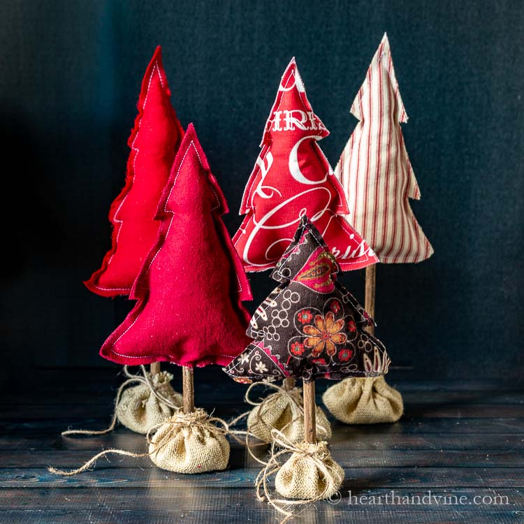 Farmhouse Fabric Christmas Trees - DIY Sewing Tutorial