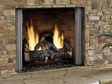 carolina outdoor gas fireplace with brick face