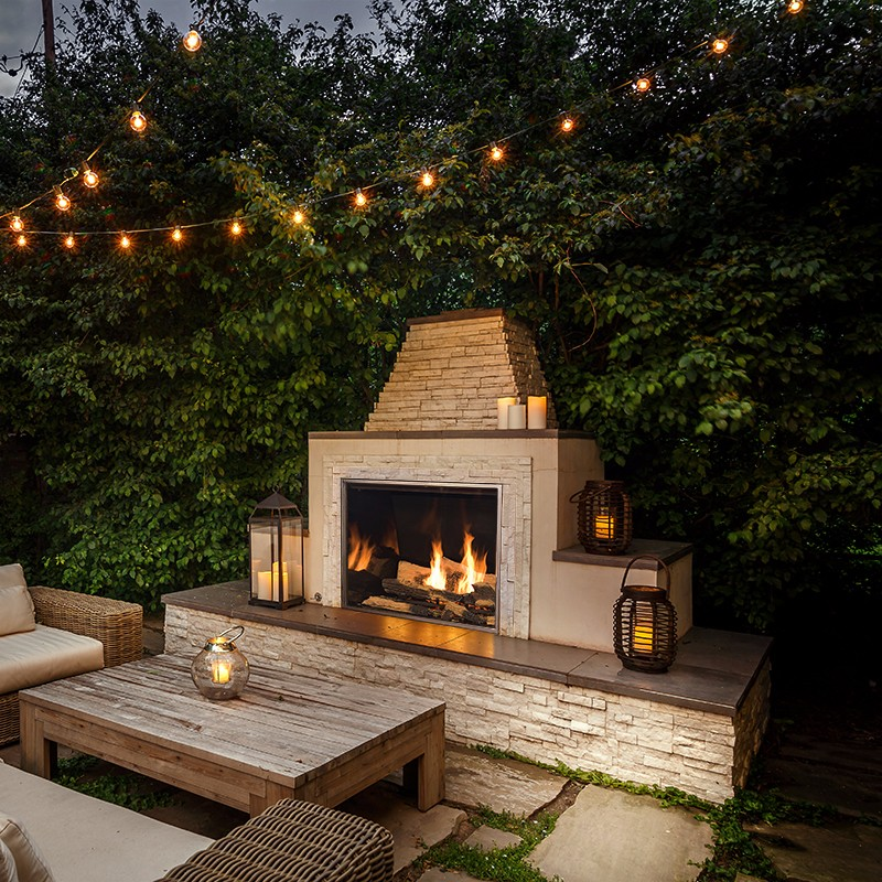 TC36 outdoor gas fireplace with patio lanterns