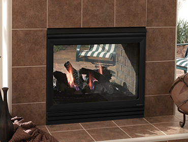 Twilight II outdoor gas fireplace with tile face