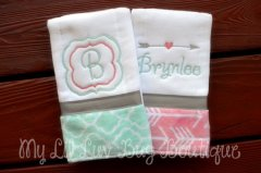 Personalized baby gift ideas heart home travel burp cloth set personalized baby gift negle Images