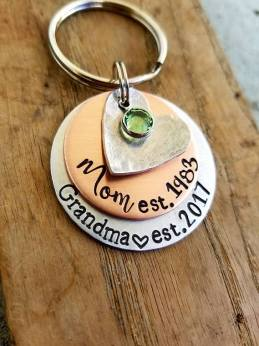 Personalized hand stamped keychain. Pregnancy announcement. New grandma . First mothers day gift. New grandmother. First time grandparent