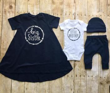 Big sister little brother sibling set, sibling shirts, pregnancy announcement shirt, big sister dress