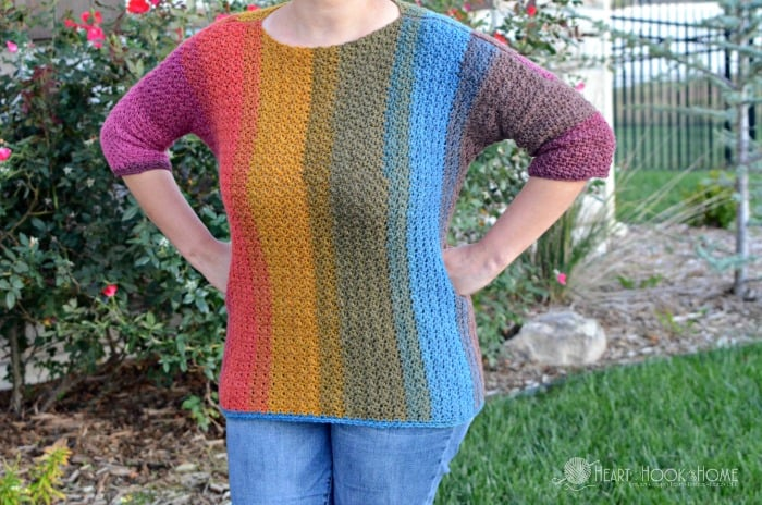 Straight Up Easy vertical stripe sweater pattern