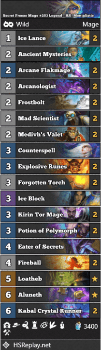 Secret Freeze Mage #203 Legend - HS_Mentalistic