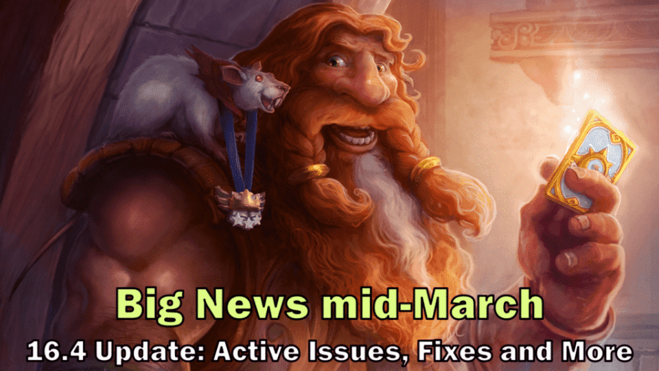 Hearthstone Big News & 16.4 Update