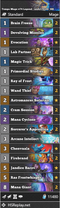 Tempo Mage #74 Legend - andy170100_HS
