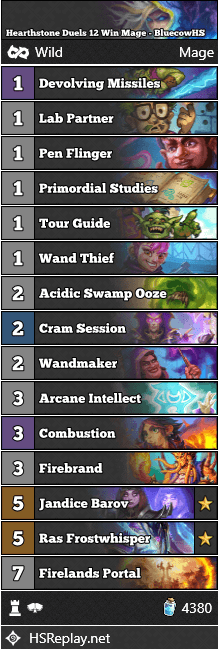 Hearthstone Duels 12 Win Mage - BluecowHS