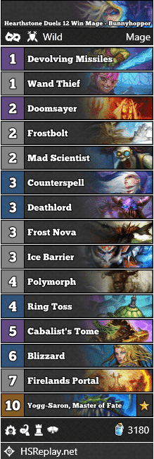 Hearthstone Duels 12 Win Mage - Bunnyhoppor