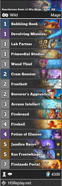 Hearthstone Duels 12 Win Mage - Rase_HS