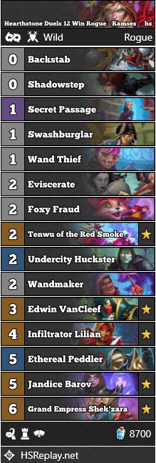 Hearthstone Duels 12 Win Rogue - Ramses__hs