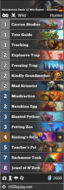 Hearthstone Duels 12 Win Hunter - AwireHs