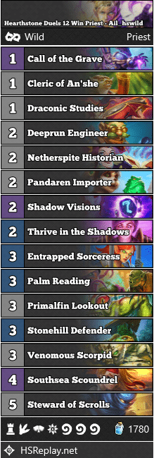 Hearthstone Duels 12 Win Priest - Ail_hswild