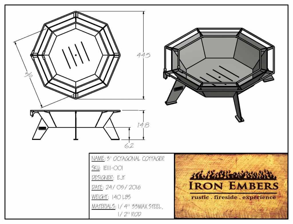 3′ Octagonal Cottager Fire Pit