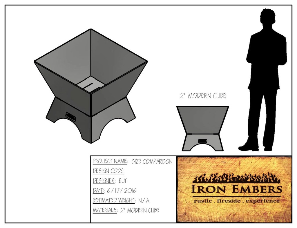 2′ Modern Cube Fire Pit
