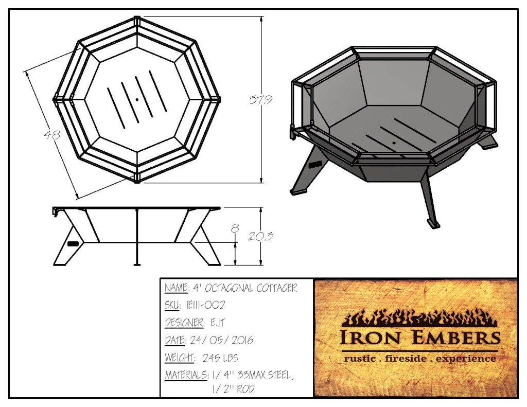 4′ Octagonal Cottager Fire Pit