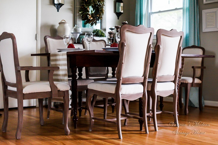 DIY Linen Dining Room Chairs for $20 a piece