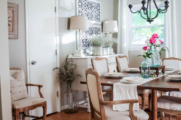 Spring dining room tour! One tip that helped to brighten our dining room a whole lot!