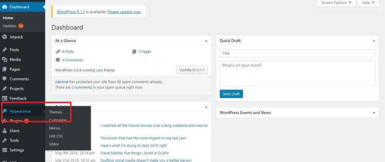 WordPress Settings - Themes
