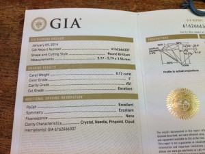 Heartland Boy's Engagement Ring GIA Certificate