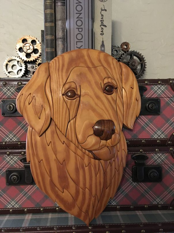 Golden Retriever Wood Sculpture