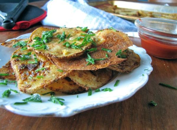 Baked Vegan Chili Cheese Potato Chips
