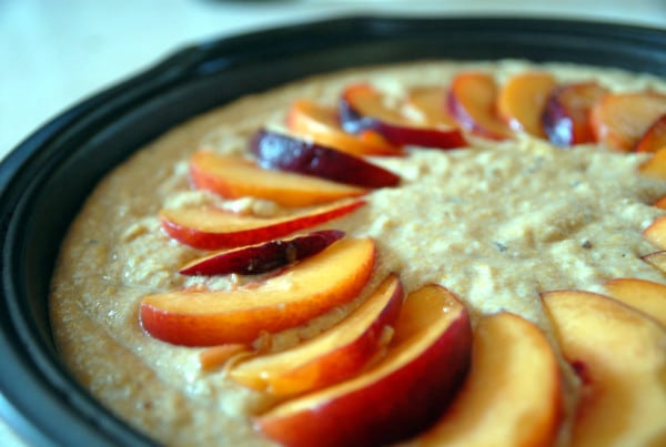Vegan Peach Cornmeal Cake with Brown Sugar Glaze