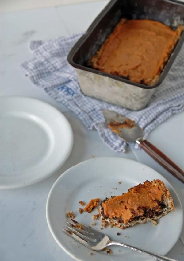 Dark Chocolate and Sweet Potato Tart with Maple Oat Crust