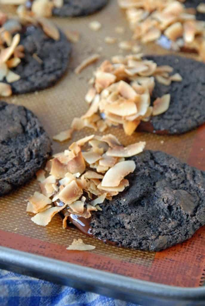 Toasted Coconut and Dark Chocolate Dipped Espresso Cookies (Vegan)