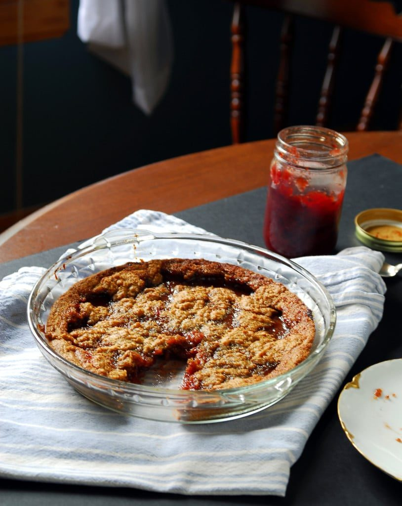 Peanut Butter and Strawberry Jam Breakfast Cookie Pie