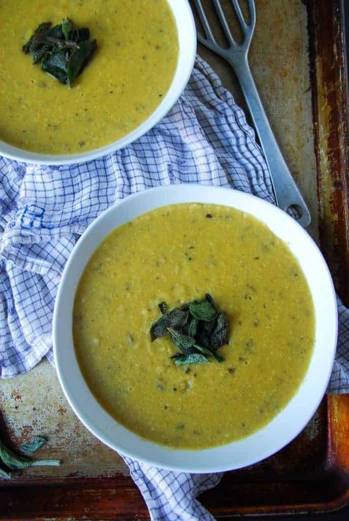 Cream of Potato Soup with Crispy Sage// heartofabaker.com
