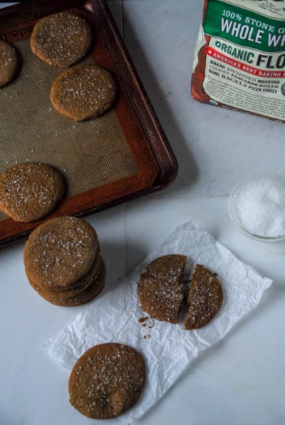 Crispy Vegan Gingerbread Cookies with baking tray