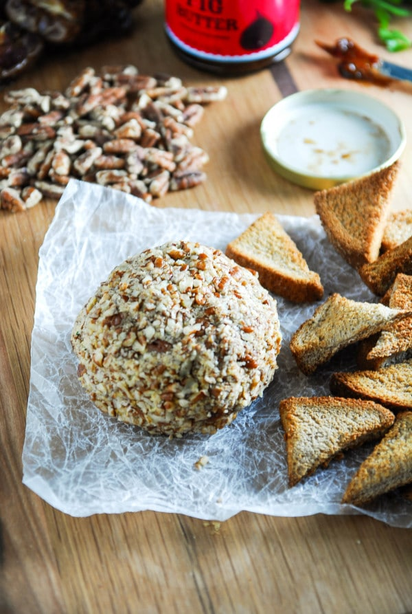 Smoked Paprika and Cheddar Vegan Cheese Ball on parchment paper
