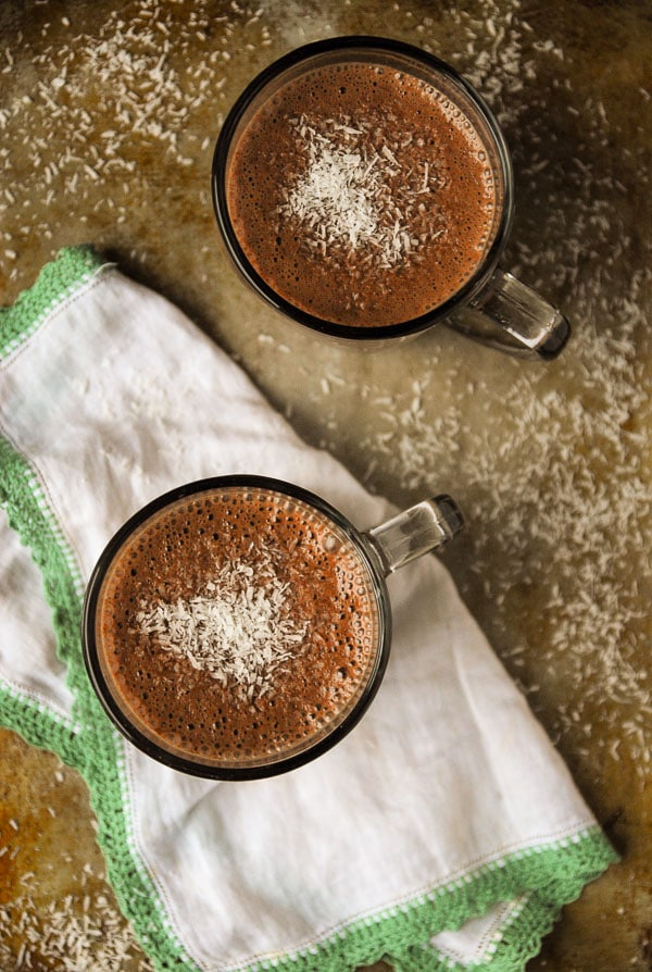 vegan Hot Chocolate with coconut on top