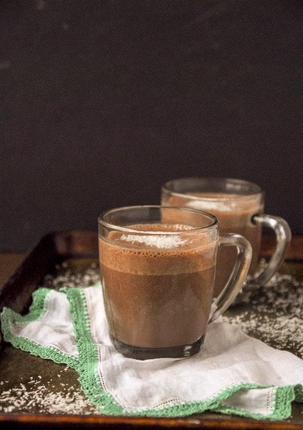 Creamy Vegan Coconut Hot Chocolate//heartofabaker.com