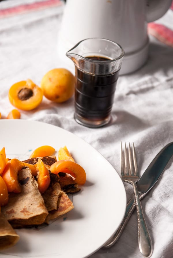 Whole Wheat Crepes with Apricots + Ginger//heartofabaker.com