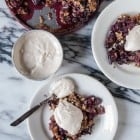 Mixed Berry Streusel Pie with Coconut Ginger Whipped Cream//heartofabaker.com