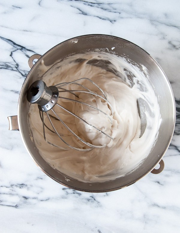 aquafaba meringue in a mixing bowl