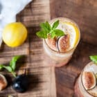 Fig and Lemon Sparkler with Basil Mint Simple Syrup//heartofabaker.com