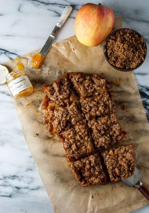 Apple and Peach Jam Streusel Pie Bars
