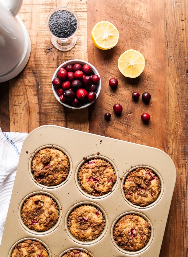Cranberry Vegan Lemon Poppyseed Muffins