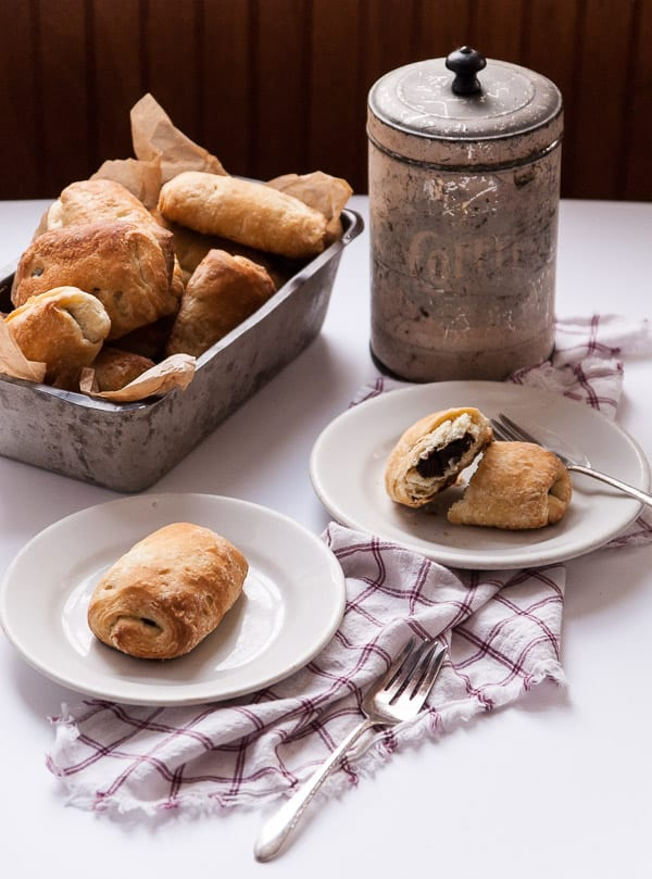 chocolate vegan croissants on plates