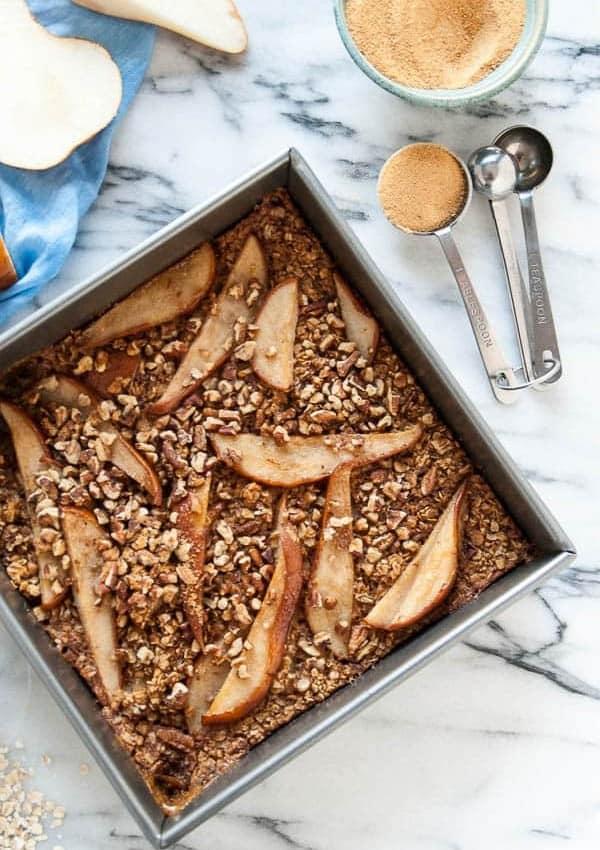 Pear + Pecan Vegan Baked Oatmeal