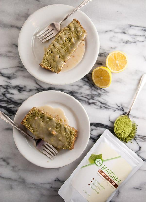 Vegan Matcha Pound Cake with Lemon Icing