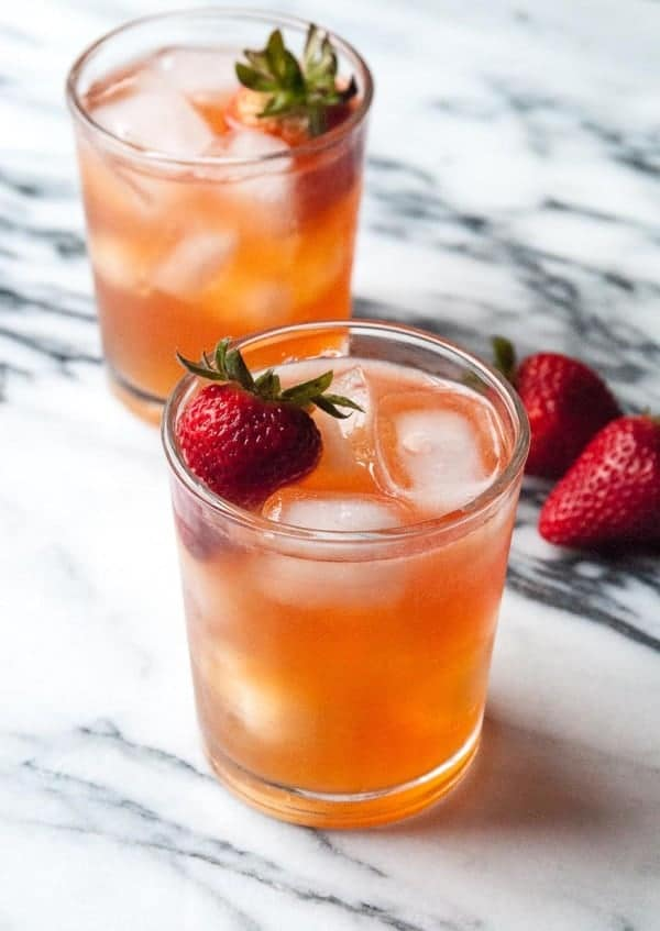 Strawberry Ginger Kombucha Cocktail- a perfectly fizzy and refreshing drink!