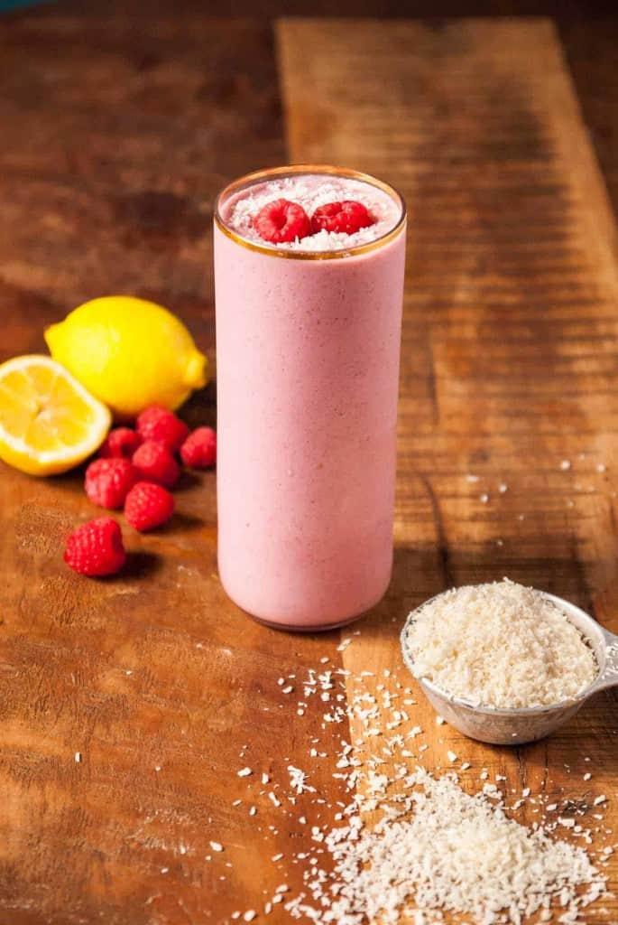 Creamy Raspberry Coconut Smoothie-4