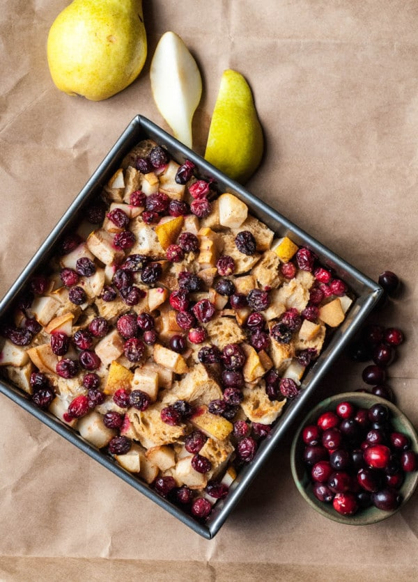 Cranberry and Pear Vegan French Toast Casserole