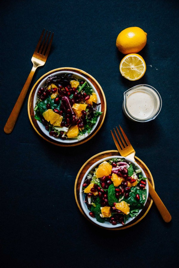 Winter Quinoa Citrus Salad with Creamy Lemon Tahini Dressing- A sweet and bright citrus salad, perfect for the winter time with a creamy lemon tahini dressing!