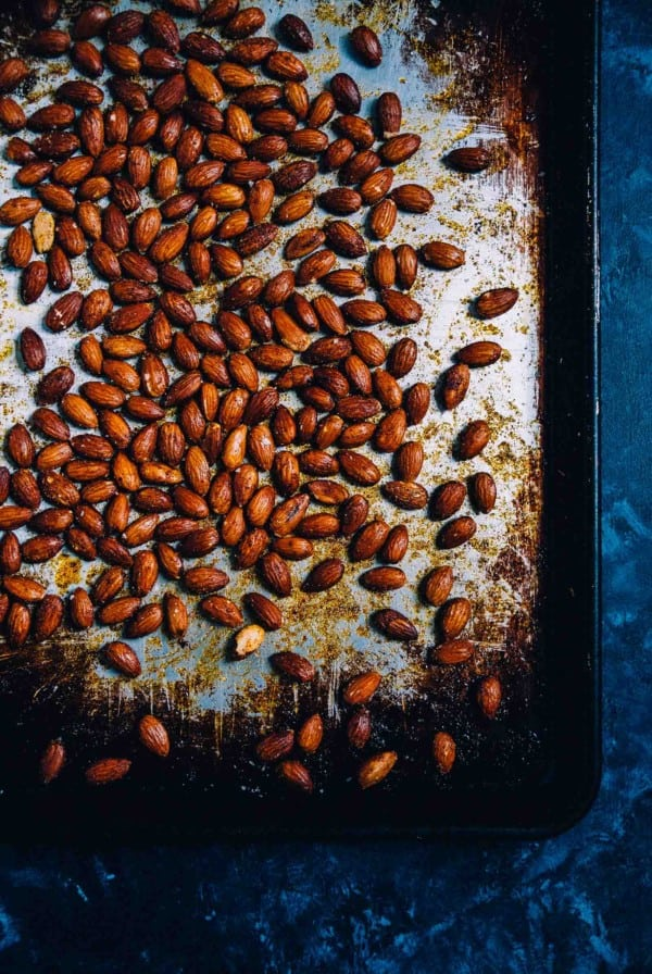 Smoked Paprika and Garlic Roasted Almonds on a baking tray