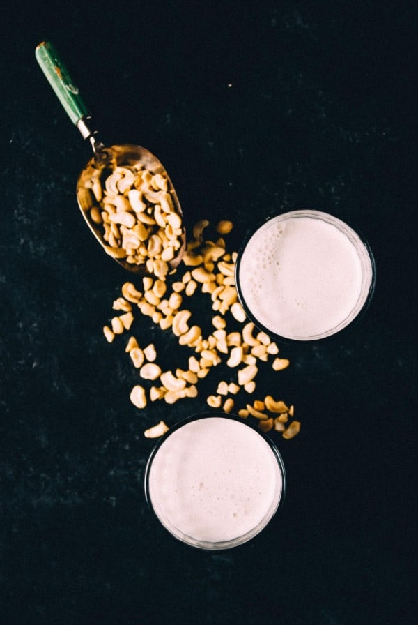 homemade cashew milk in glasses